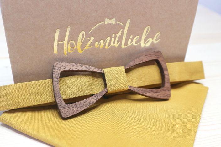 Holzfliegen - Herrenfliegen für Anzug - Einstecktuch - Gelb