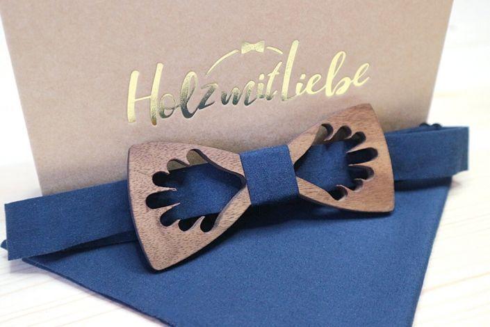 Holzfliege, Herrenfliege mit Einstecktuch in blau - Muster
