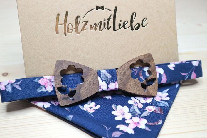 Holzfliege mir Einstecktuch - Blumen Muster in Fliege und Tuch