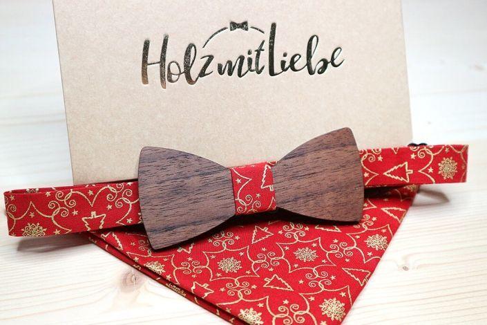 Holzfliege als Weihnachtsgeschenk mit Einstecktuch in rot
